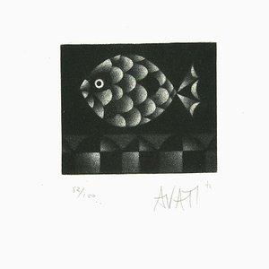 Fish - Original Etching on Paper by Mario Avati - 1960s 1960s