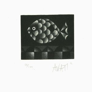 Pesce - Incisione originale su carta di Mario Avati - anni '60