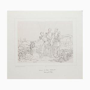 Gedenken - Original Lithographie von D'apres Raffet - 19. Jahrhundert 19. Jahrhundert