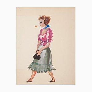 Walking Women - Original Tempera und Aquarell auf Papier von Alkis Matheos -1950er 1950er