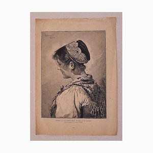 Woman - Original Zincography Print by R.Brendamour - 20th Century 20th Century
