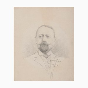 Portrait of Man - Original Drawing in Pencil - Late 19th Century Late 19th Century