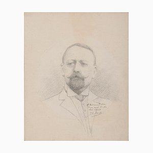 Portrait of Man - Original Zeichnung mit Bleistift - spätes 19. Jahrhundert spätes 19. Jahrhundert