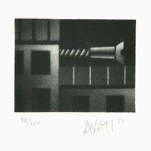 Construction - Original Etching on Paper by Mario Avati - 20th Century 20th Century