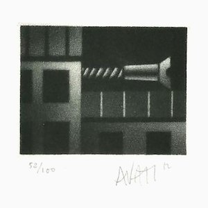 Construction - Original Radierung auf Papier von Mario Avati - 20th Century 20th Century