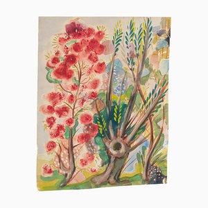 Giardino fiorito - Acquarello originale su carta di Jean Delpech - 1944 1944