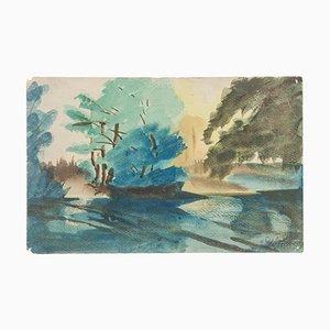 Landscape - Original Watercolor on Paper by Jean Delpech - 1956 1956