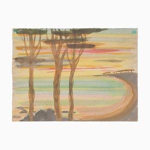 Landscape - Original Watercolor on Paper by Jean Delpech - 1960s 1960s