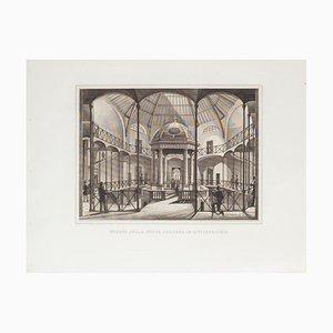 Interior of New Darsena - Original Etching - 19th Century 19th Century