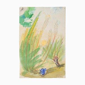 Vegetation - Original Watercolor on Paper by Jean Delpech - 1944 1944