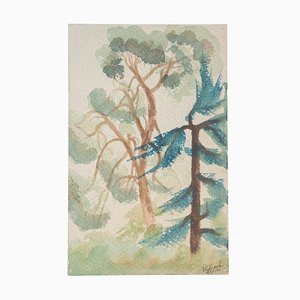 Trees - Original Watercolor on Paper by Jean Delpech - 1936 1936