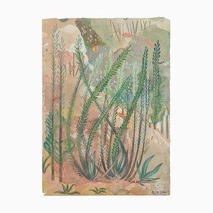 Vegetación - Acuarela sobre papel original de Jean Delpech - 1944 1944