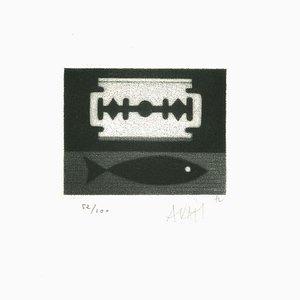Fish and Blade - Original Radierung auf Papier von Mario Avati - 1960er 1960er