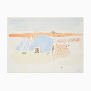 Landscape - Original Watercolor Painting on Paper - 20th Century 20th Century