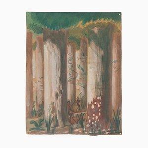 Satyrs dans la Forêt - Aquarelle Originale sur Papier par Jean Delpech - 1944 1944