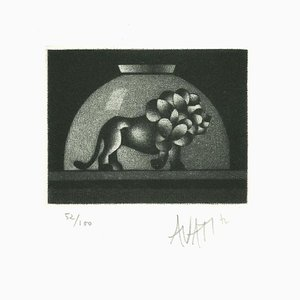 Lion in Bowl - Original Etching on Paper by Mario Avati - 1960s 1960s