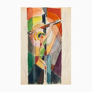 Crucified Christ - Pencil and Watercolor by Jacques Villon - 1950s 1950s
