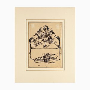 Last Supper - Original Ink Drawing on Paper by Renzo Vespignani - 1945 1945