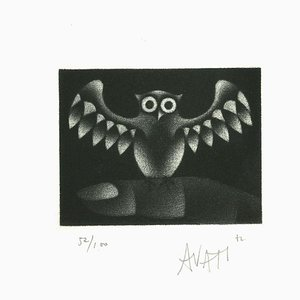 Owl - Original Etching on Paper by Mario Avati - 1960s 1960s