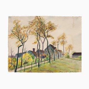 Landscape - Original watercolor by A.R. Brudieux - 1945 1945