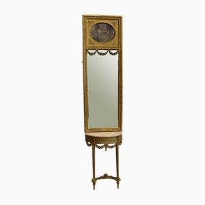 Golden Wood Mirror & Half Moon Console Set