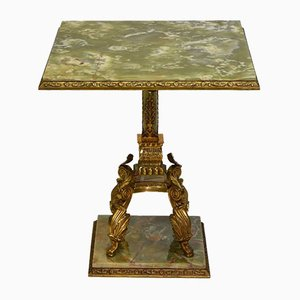 Vintage Onyx & Brass Side Table, 1950s