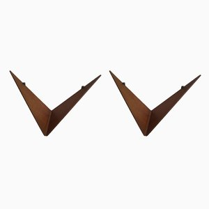 Butterfly Teak Shelves by Poul Cadovius for Cado, 1950s, Set of 2