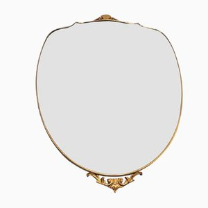 Vintage Spiegel aus Messing in Schildform