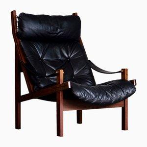 Leather Hunter Chair by Torbjørn Afdal for Bruksbo, 1970s