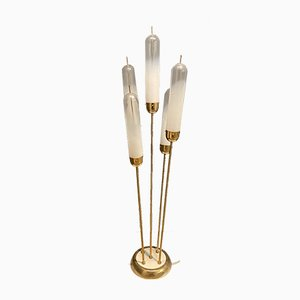 Mid-Century Murano Glass Brass Floor Lamp by Carlo Nason