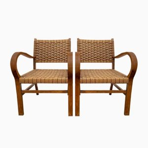 Beech & Cord Armchairs, 1950s, Set of 2