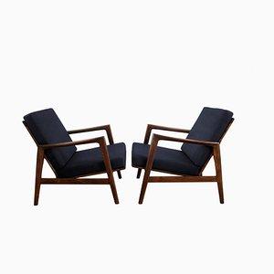 Mid-Century Dark Blue Armchairs from Swarzędzkie Furniture Factory, 1960s, Set of 2