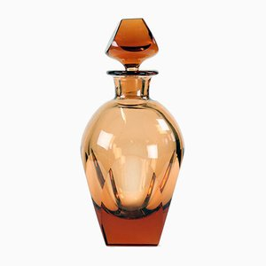Vintage Whiskey Bottle In Pink Glass from Moser, 1960s
