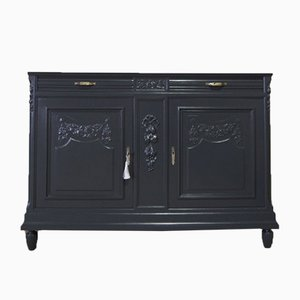 Vintage French Black Painted Cabinet with Marble Top