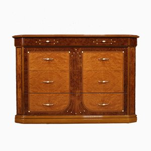 Italian Chest of Drawers In Walnut, Burl, Rosewood, Beech & Fruitwood