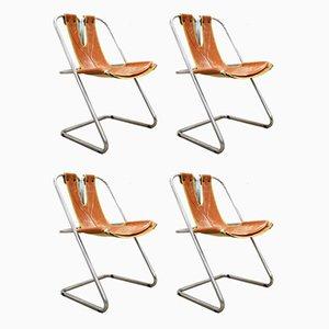 Chaises de Salon en Acier & Cuir, 1970s, Set de 4