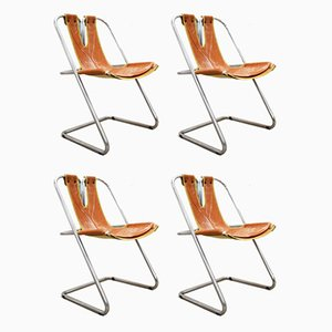 Steel & Leather Dining Chairs, 1970s, Set of 4