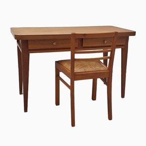 Desk with Shelf & Leather Chair by René Gabriel, 1940s, Set of 2