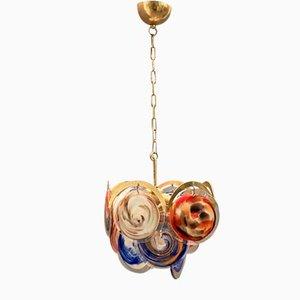 Lámpara de araña era espacial Mid-Century con discos de cristal de Murano