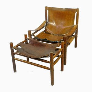 Leather Safari Armchair, 1970s