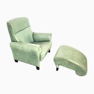 Green Leather DS-90 Lounge Chair & Ottoman by Anita Schmidt for de Sede, Switzerland, 1992, Set of 2