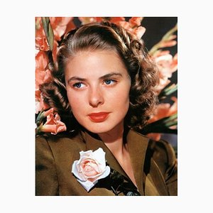 Ingrid Bergman with a Rose Framed in White by Everett Collection