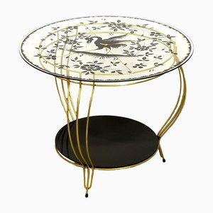 Round Side Table with Phoenix Bird Motif