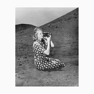 Ingrid Bergman on Set Archival Pigment Print Framed in White by Everett Collection