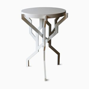 Small Plant Table in White with Wooden Tabletop by Kranen/Gille