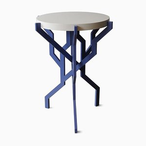 Small Plant Table in Blue with Wooden Tabletop by Kranen/Gille