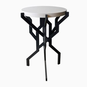 Small Grey Plant Table with White Wooden Tabletop by Kranen/Gille