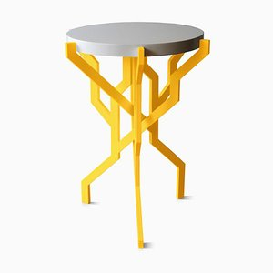 Small Plant Table in Yellow with Wooden Tabletop by Kranen/Gille