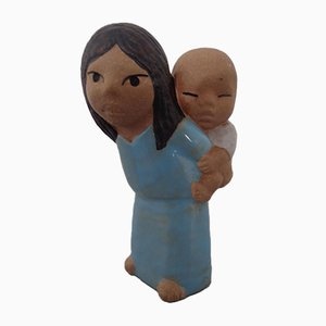 Glazed Ceramic Mother & Baby Figurine by Lisa Larson for Gustavsberg, 1970s