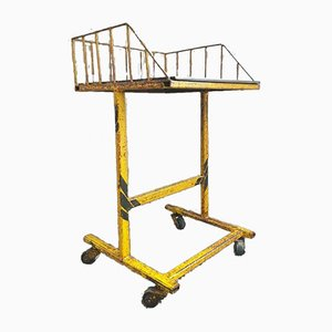 Industrial Trolley Side Table with Yellow Castors